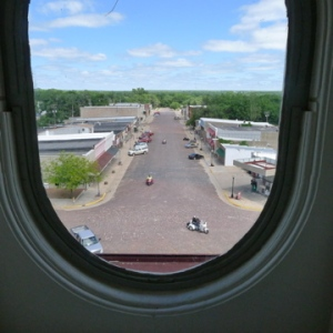 Bird's eye view, from third floor of courthouse.