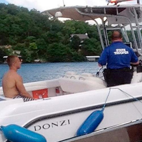 Brandon Ellingson in patrol boat
